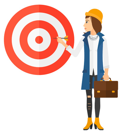 A business woman standing with arrow in hand and aiming at a target board vector flat design illustration isolated on white background. Ilustração