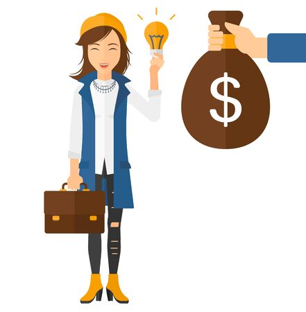 exchanging: A business woman exchanging her idea bulb to money bag vector flat design illustration isolated on white background.