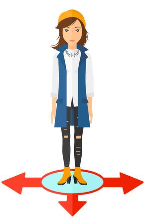 business woman standing: A business woman standing on three alternative ways vector flat design illustration isolated on white background.