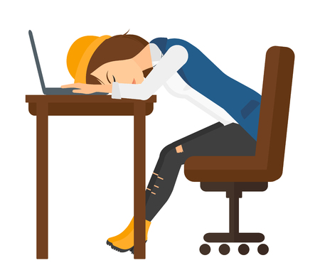exhaustion: Tired employee sleeping at workplace on laptop keyboard vector flat design illustration isolated on white background.