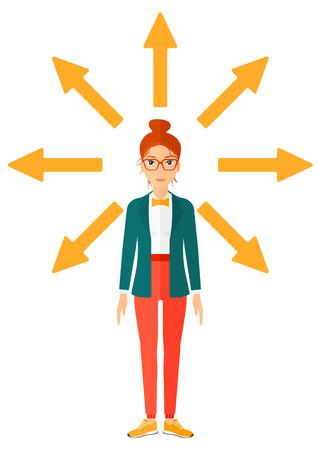 Eine Geschäftsfrau mit vielen Pfeilen um ihren Vektor flache Design-Illustration isoliert auf weißem Hintergrund.