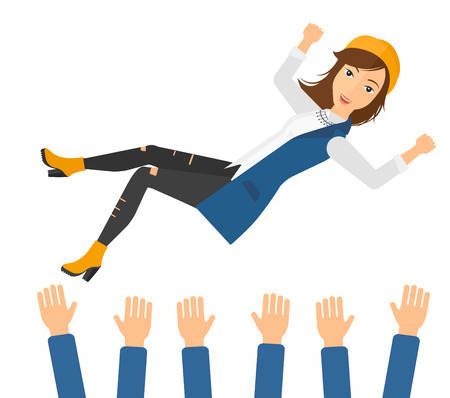 A business woman get thrown into the air by coworkers during celebration vector flat design illustration isolated on white background.