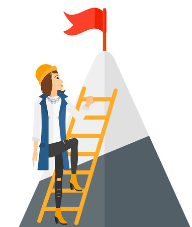 stair climber: A woman standing and holding the ladder to get the red flag on the top of mountain vector flat design illustration isolated on white background.