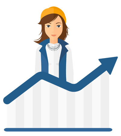 business woman standing: A business woman standing behind growing chart vector flat design illustration isolated on white background. Illustration