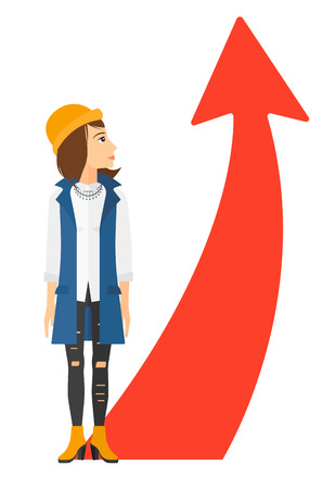 business opportunity: A business woman looking at arrow going up vector flat design illustration isolated on white background.
