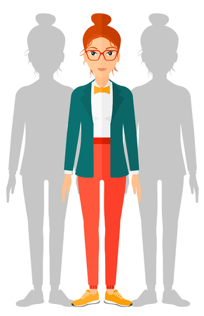 coworkers: A woman with some shadows of her coworkers behind her vector flat design illustration isolated on white background.