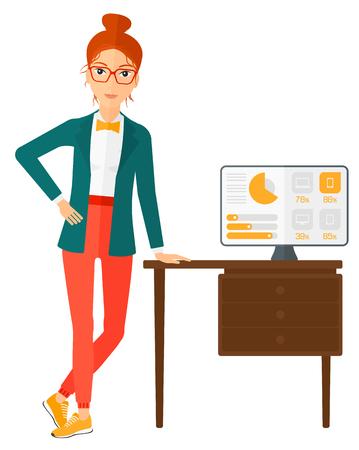 사무실에서 컴퓨터 모니터와 함께 테이블에 기대어 여자 벡터 평면 디자인 일러스트 레이 션 흰색 배경에 고립.