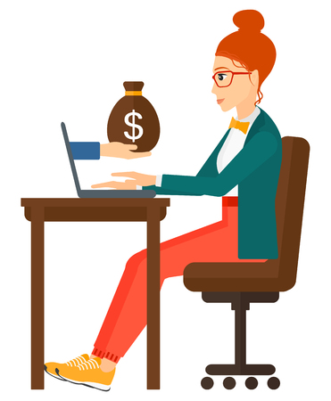 woman laptop: A business woman working in office and a bag of money coming out of her laptop vector flat design illustration isolated on white background. Illustration