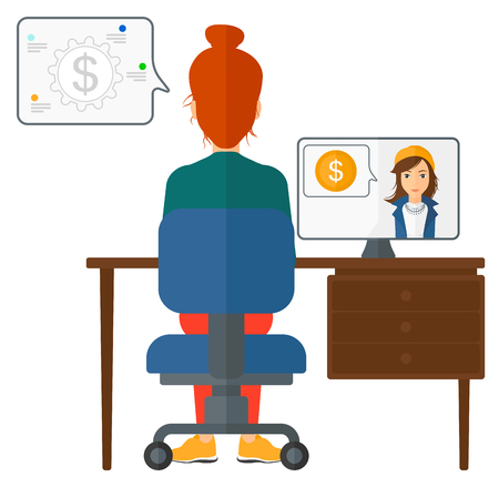 A woman sitting in the office and talking with other woman using video chat vector flat design illustration isolated on white background.