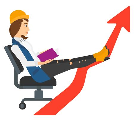lay: A business woman sitting in chair with a book in hands while her legs lay on an uprising arrow vector flat design illustration isolated on white background.