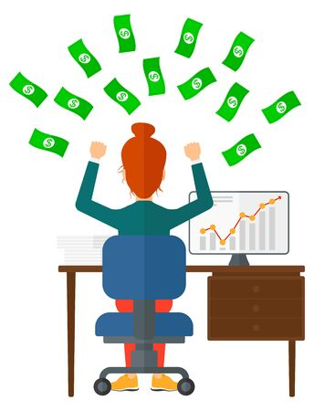 money flying: A woman sitting in front of her computer with raised hands and money flying above her vector flat design illustration isolated on white background.