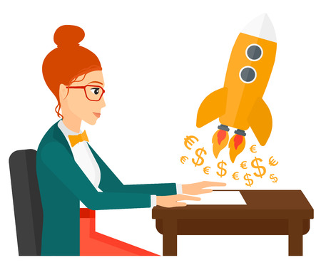 A successful woman sitting at the table and looking at a rocket with money taking off the paper vector flat design illustration isolated on white background.