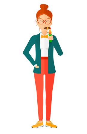 hombre fumando puro: Una mujer fuma un diseño plano ilustración vectorial cigarro aislado sobre fondo blanco. Vectores