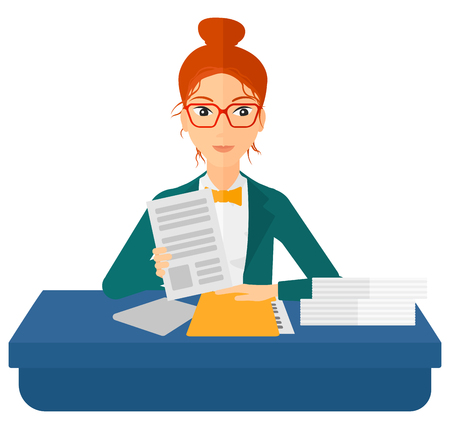 viewing: A human resources manager reading application portfolios vector flat design illustration isolated on white background.