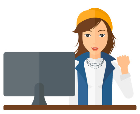 looking at computer: A happy business woman expressing great satisfaction while looking at a computer monitor vector flat design illustration isolated on white background. Illustration