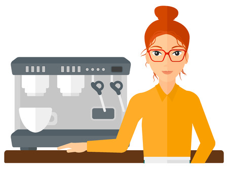 barista: A barista standing near coffee maker vector flat design illustration isolated on white background.