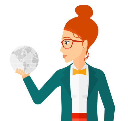 flat earth: A business woman holding Earth planet in hand vector flat design illustration isolated on white background.