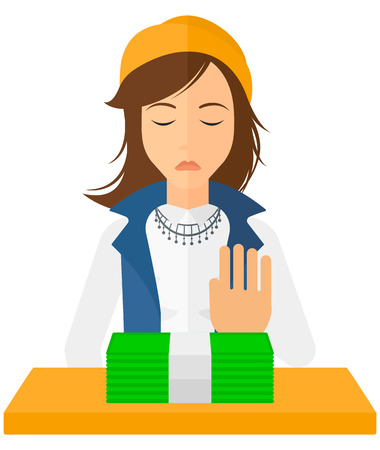 denial: Woman moving dollar bills away and refusing to take a bribe vector flat design illustration isolated on white background.