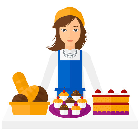 owner: A successful small business owner standing in front of table with pastry vector flat design illustration isolated on white background. Illustration