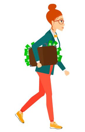 woman holding money: A business woman walking with suitcase full of money vector flat design illustration isolated on white background.