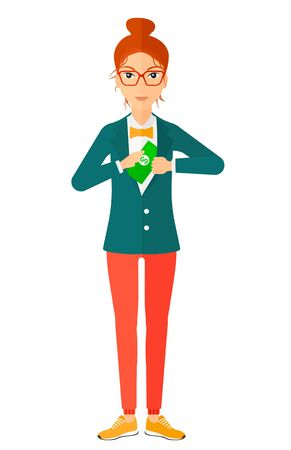 putting: A business woman putting money in her pocket vector flat design illustration isolated on white background.