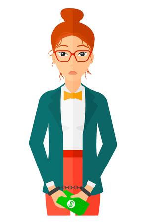 Eine Geschäftsfrau in Handschellen mit Geld in den Händen Vektor flache Design-Darstellung auf weißem Hintergrund. Standard-Bild - 50784134