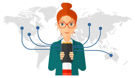 lady shopping: A woman holding smartphone connected with the whole world vector flat design illustration isolated on white background. Illustration