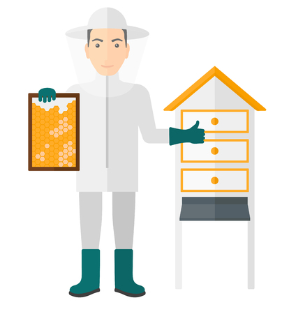 apiculture: The beekeeper in protective suit working at apiary holding a framework in hand and showing thumb up vector flat design illustration isolated on white background. Illustration