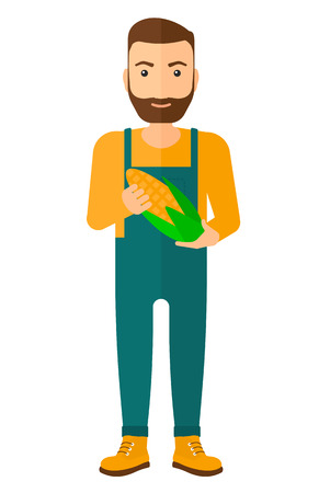 agriculturist: An agriculturist holding a corn cob vector flat design illustration isolated on white background.