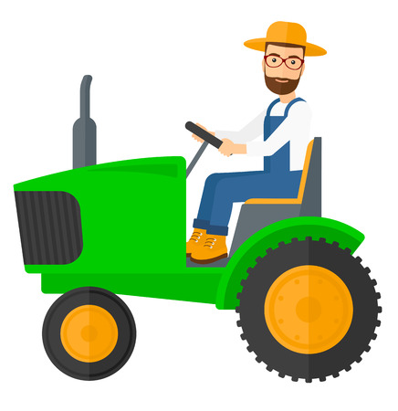 A hipster farmer with the beard driving a tractor vector flat design illustration isolated on white background. Vettoriali