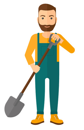 A farmer digging with a spade vector flat design illustration isolated on white background. Stock Illustratie