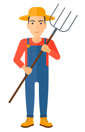 pitchfork: A farmer standing with a pitchfork vector flat design illustration isolated on white background. Illustration