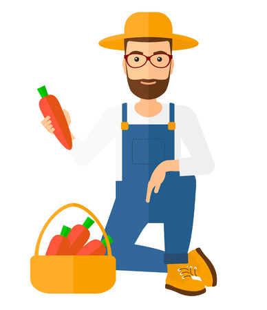 A hipster farmer with the beard collecting carrots in basket vector flat design illustration isolated on white background.
