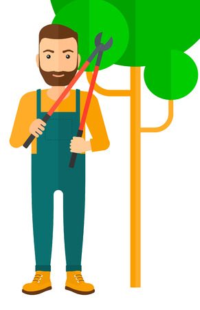 pruner: A hipster farmer with a beard holding a pruner vector flat design illustration isolated on white background. Illustration