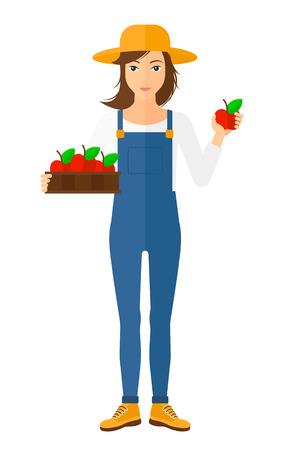 Un agricultor con una caja de manzanas en una mano y una manzana en otro diseño ilustración plana vectorial aislados en fondo blanco.