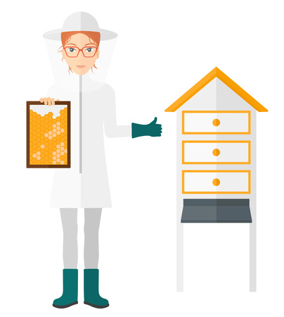 The beekeeper in protective suit working at apiary holding a framework in hand and showing thumb up vector flat design illustration isolated on white background. Ilustração