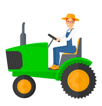 plow: A farmer driving a tractor vector flat design illustration isolated on white background.