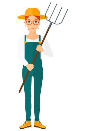 countryman: A farmer standing with a pitchfork vector flat design illustration isolated on white background. Illustration