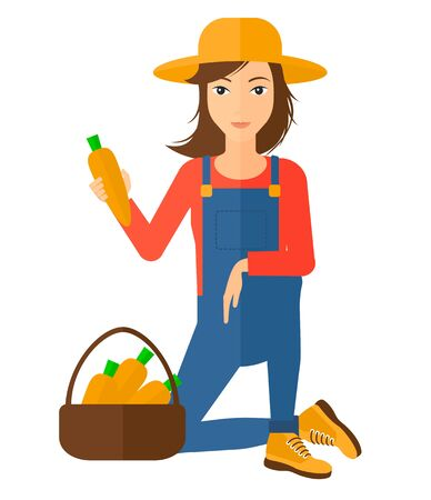 collect: A farmer collecting carrots in basket vector flat design illustration isolated on white background.
