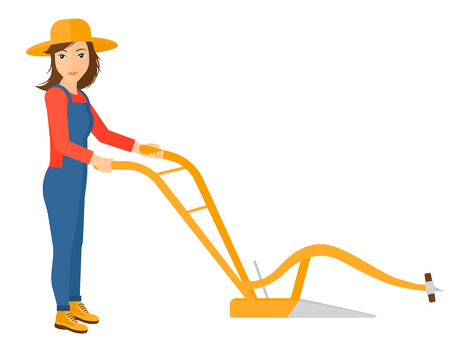 furrow: A farmer using a plough vector flat design illustration isolated on white background.
