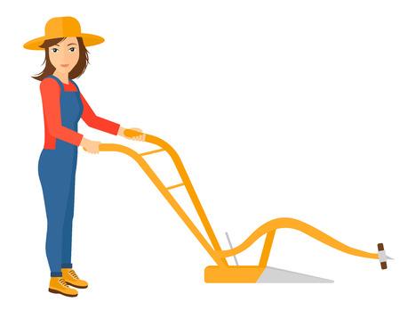 Un agriculteur en utilisant un vecteur de charrue design plat illustration isolé sur fond blanc. Banque d'images - 50784052