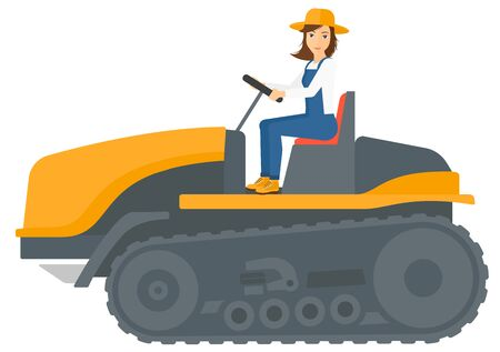 tillage: A farmer driving a catepillar tractor vector flat design illustration isolated on white background. Illustration