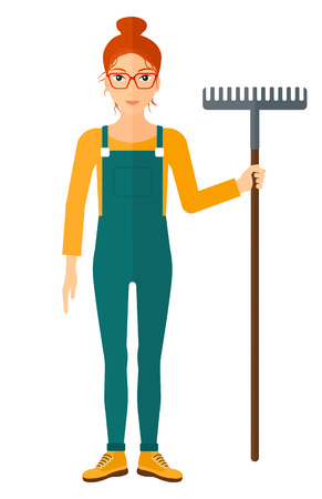 agrarian: A farmer standing with a rake vector flat design illustration isolated on white background.