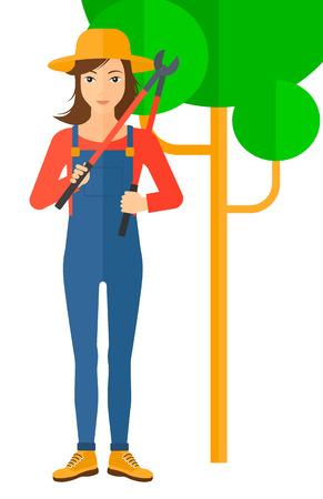 pruner: A farmer holding a pruner vector flat design illustration isolated on white background.