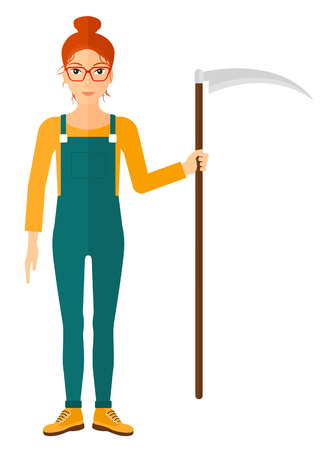 laborer: A farmer holding a scythe vector flat design illustration isolated on white background. Illustration