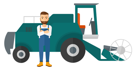 rancher: A hipster man with the beard standing with a combine on a background vector flat design illustration isolated on white background.