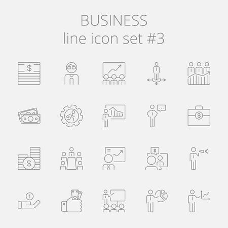 Business-Icon-Set. Vector dunkelgrau Symbol auf hellgrauem Hintergrund.