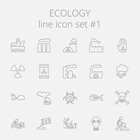 environmental hazard: Ecology icon set. Vector dark grey icon isolated on light grey background.