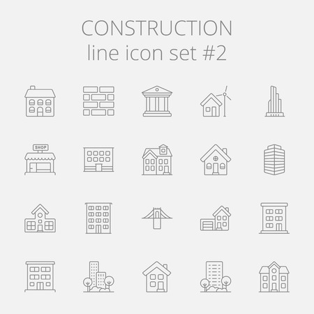 housing project: Construction icon set. Vector dark grey icon isolated on light grey background.