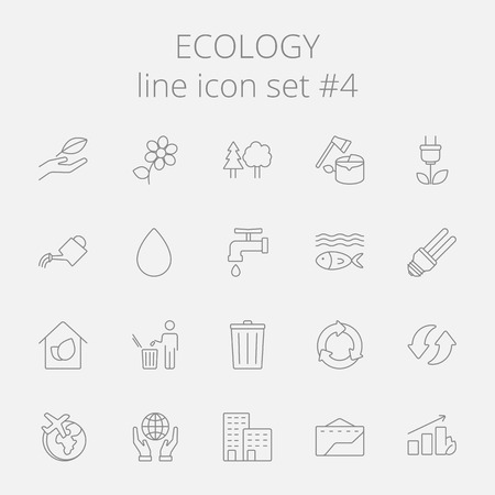 green technology: Ecology icon set. Vector dark grey icon isolated on light grey background.
